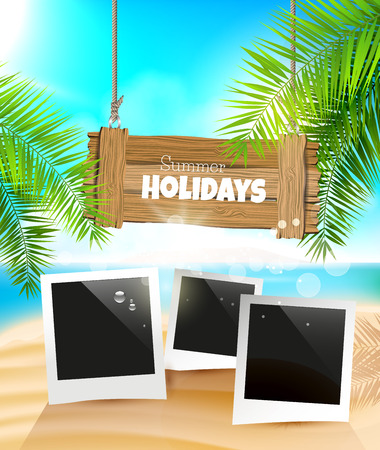 Summer holidays background with wooden sign and photoframes on the beach Vector