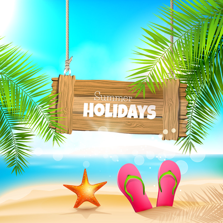 Sommerferien - Hintergrund mit Holzschild am Strand