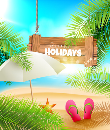 Seaside view on beautiful sunny beach with palm leaves, wooden sign and parasol  Illustration
