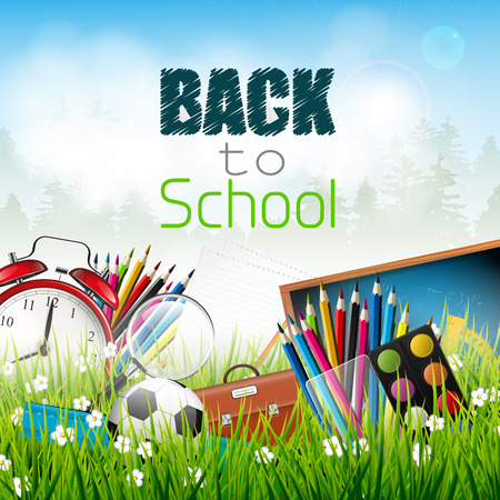 Back to school - school supplies in the grass Vector