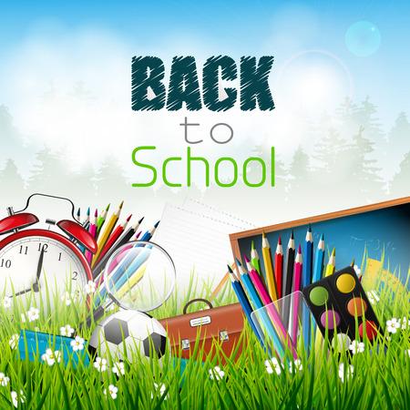 fournitures scolaires: Retour à l'école - fournitures scolaires dans l'herbe Illustration