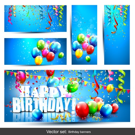 ul birthday banners with confetti and balloons Illustration