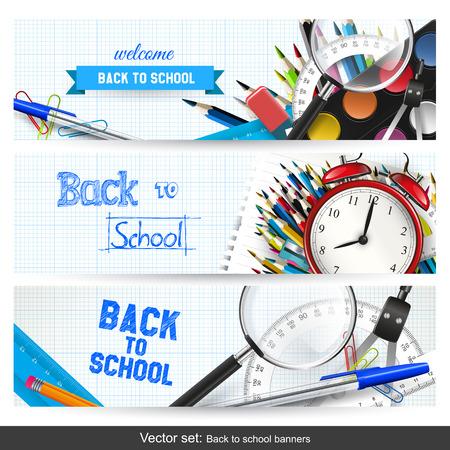Vector conjunto de tres banners de regreso a la escuela