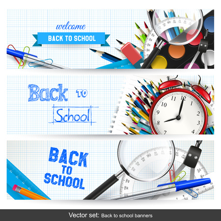 horizontal banner: Vector set of three back to school banners