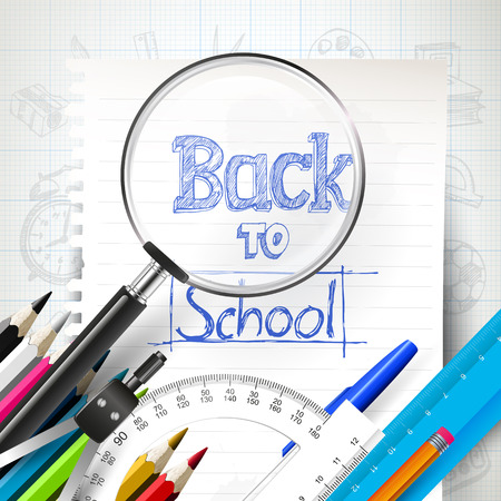 Paper and school supplies - Back to school design Vector