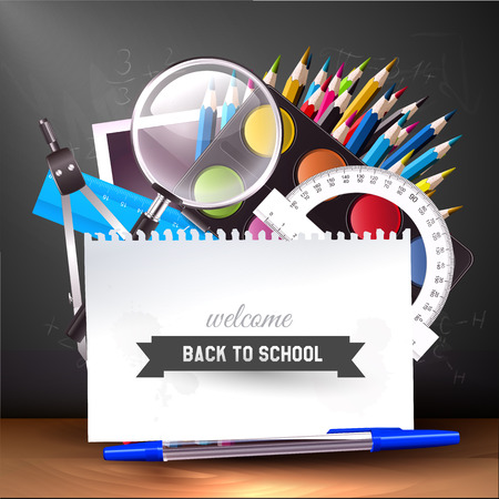 Back to school - vector background with school supplies Ilustrace