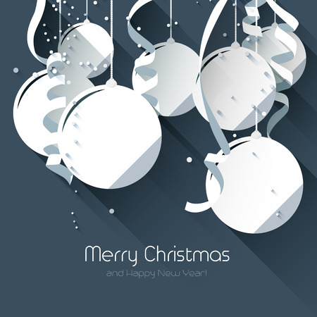 Christmas greeting card with paper baubles on blue background - flat design style