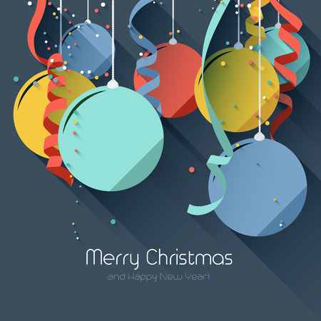 Christmas greeting card with colorful baubles and ribbons- flat design style