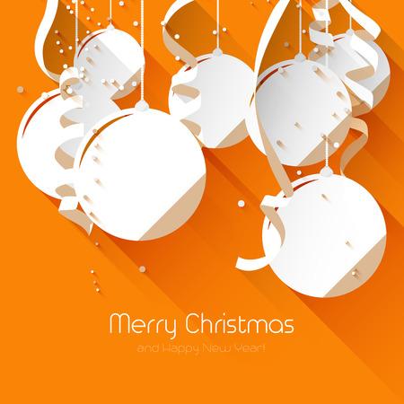 card background: Biglietto di auguri di Natale con palline di carta e nastri su sfondo arancione - stile di disegno piatto