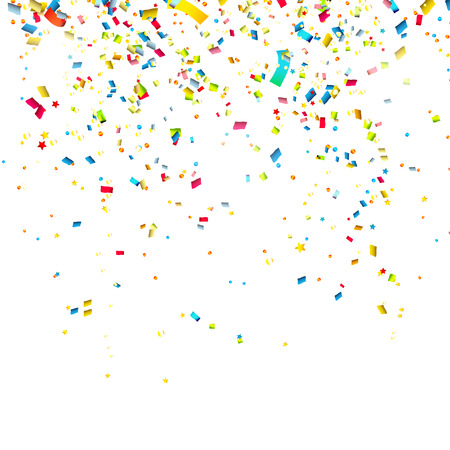 Colorful confetti on white background Reklamní fotografie - 30395590