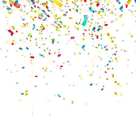 Confetes coloridos sobre fundo branco Ilustração