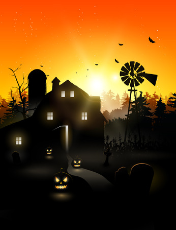 Haunted farmhouse in the woods - Halloween background Vector