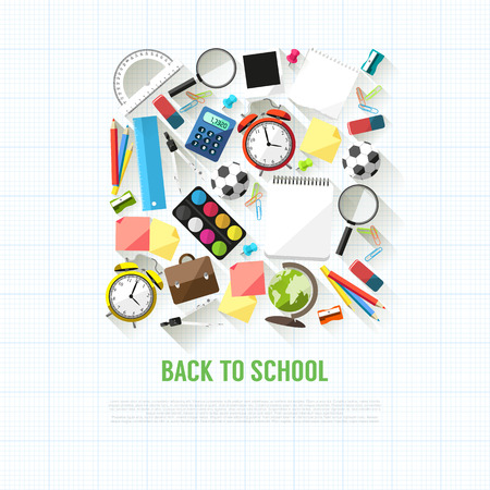 Back to school flat style background created from school supplies Vector