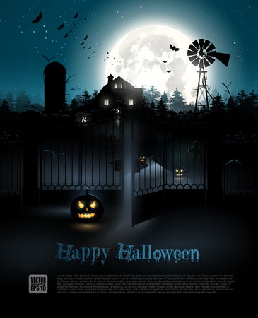 Scary farmhouse and graveyard in the woods - Halloween poster Illustration