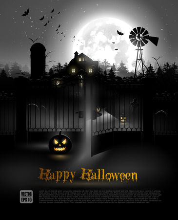Scary farmhouse and graveyard in the woods - Halloween poster Vector