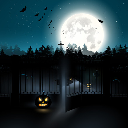 moon gate: Scary graveyard in the woods - Halloween background Illustration