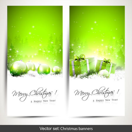 Set of two green  vertical Christmas banners with gift boxes and baubles in snow   Illustration