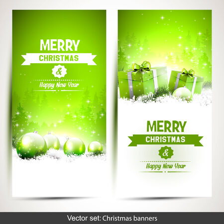 Set of two green  vertical Christmas banners with gift boxes and baubles in snow Vector