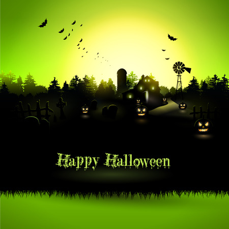 Haunted farmhouse in the woods - Halloween greeting card Vector