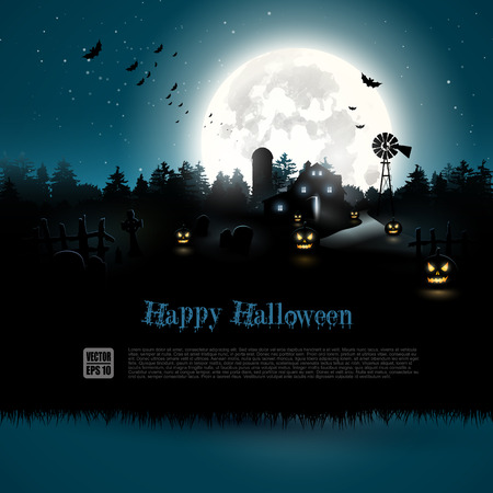 horror background: Haunted farmhouse in the woods - Halloween greeting card