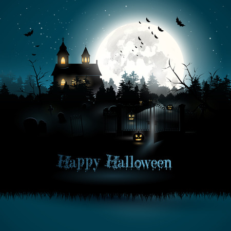 Scary church and graveyard in the woods - Halloween greeting card     Vector