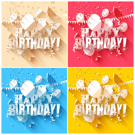 Set of birthday backgrounds in flat design style   Vector