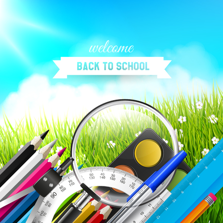 Back to school - modern background with school supplies on the grass Vector