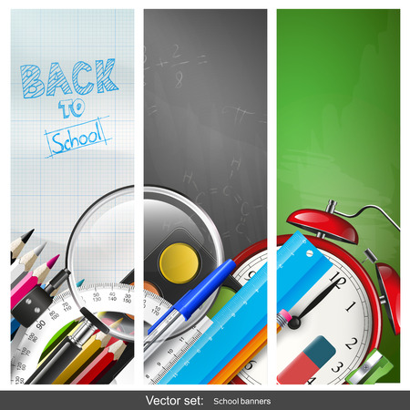 colour pencil: Set of three vertical back to school banners with school supplies     Illustration