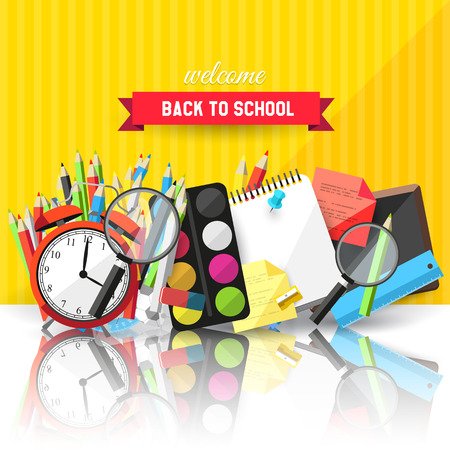 Back to school background - vector flat design illustration     Vector