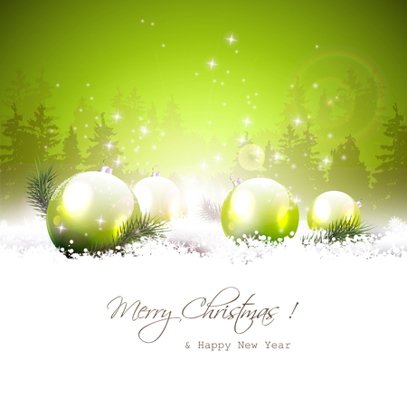 Christmas winter landscape with green baubles and place for text
