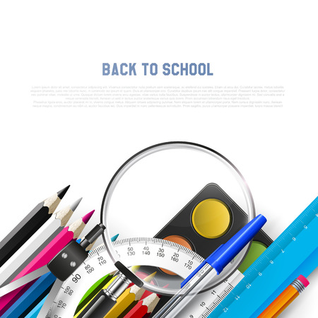 School background with school supplies on white background and place for text Vector