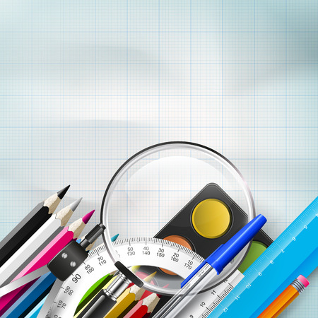 School background with school supplies on the paper and place for text Vector