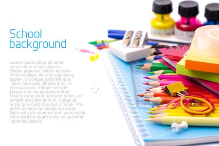 supply: School supplies on white background