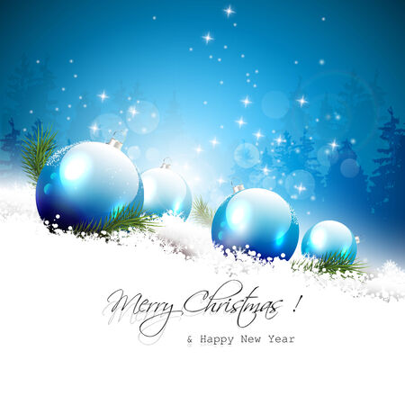 Christmas greeting card with blue baubles and branches in the snow   Vector
