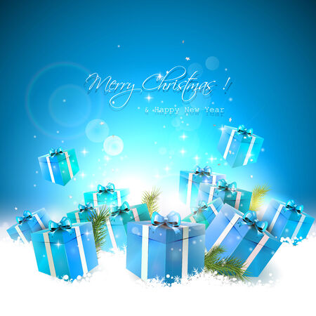 Luxury Christmas background with blue gift boxes in the snow