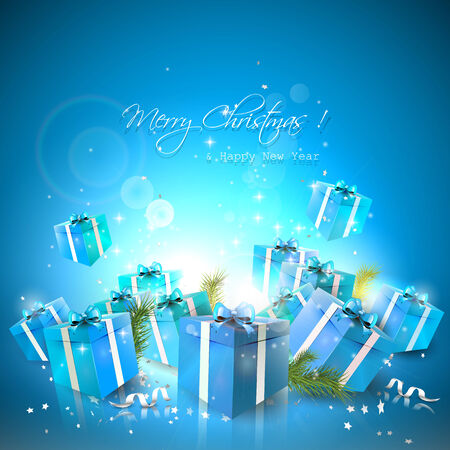 Luxury Christmas background with blue gift boxes Vector