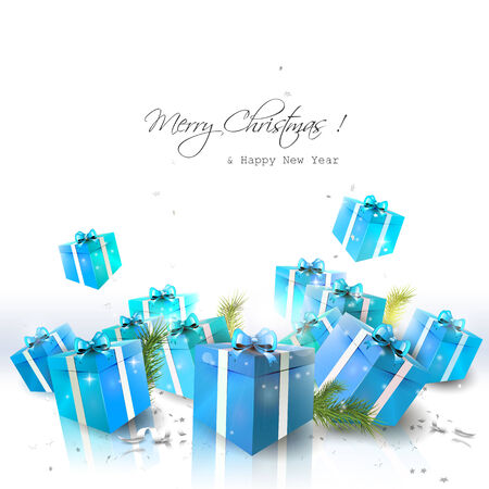 Luxury Christmas background with blue gift boxes