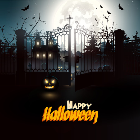 Scary graveyard in the woods - Halloween flyer   Vector