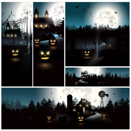 fall landscape: Vector set of Halloween backgrounds Illustration