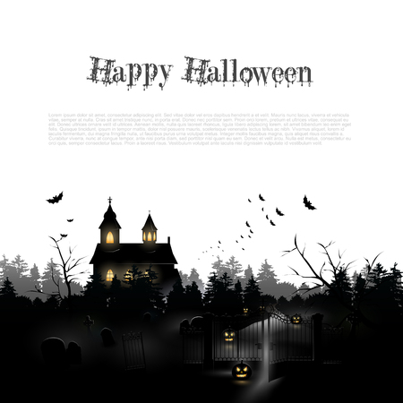haunted: Silhouette of a church and cemetery in the woods - Halloween background with place for your text