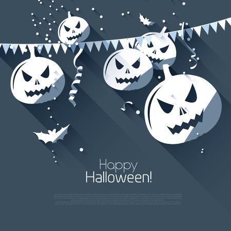 scare: Halloween greeting card - flat design style   Illustration