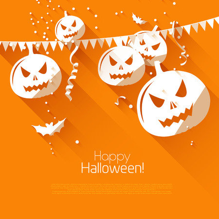 Halloween greeting card - flat design style   Vector