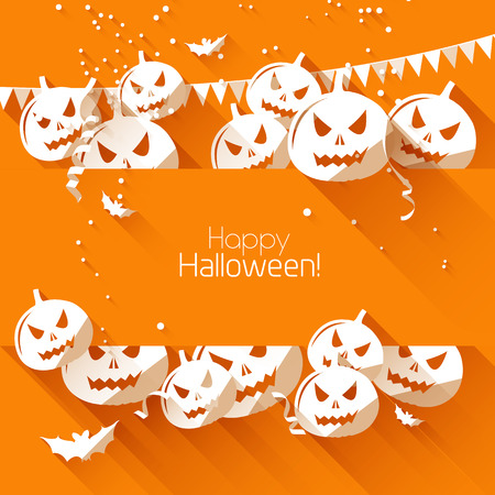 halloween party: Halloween greeting card - flat design style