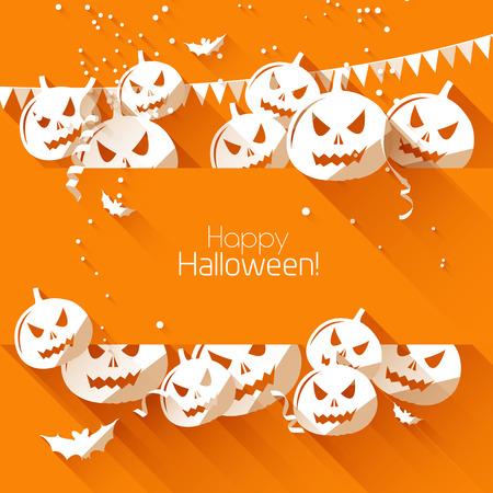 halloween party: Halloween wenskaart - plat design stijl