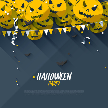 Halloween party poster - flat design style Vector