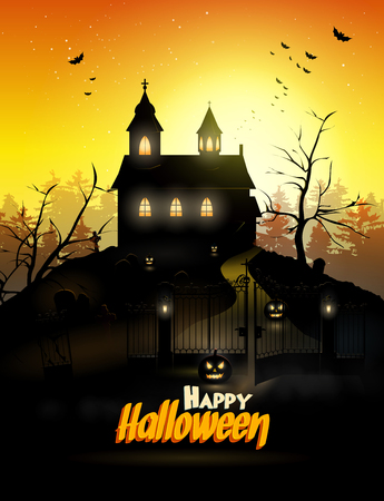 spooky house: Scary church and graveyard in the woods   Illustration