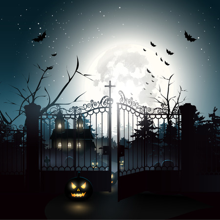 森の中 - ハローウィンのバック グラウンドで怖い墓地