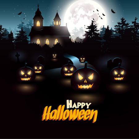 Scary kerk in het bos - Halloween flyer