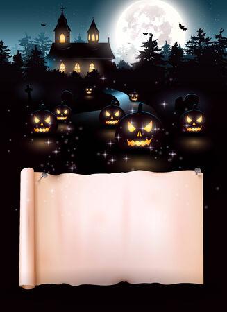 Scary kerk en kerkhof in het bos - Halloween achtergrond met plaats voor tekst Stock Illustratie