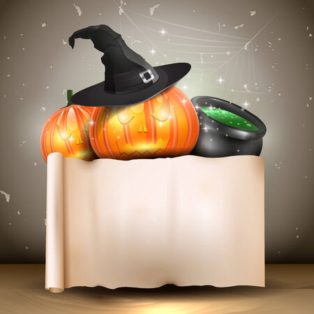 Halloween background with pumpkins, hat, pot, and and place for text   Vector